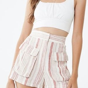 Forever 21 NWT Linen Blend Striped Shorts